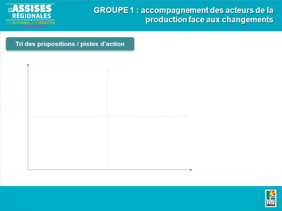 Tri des propositions / pistes daction GROUPE 1 : accompagnement des acteurs de la production face aux changements