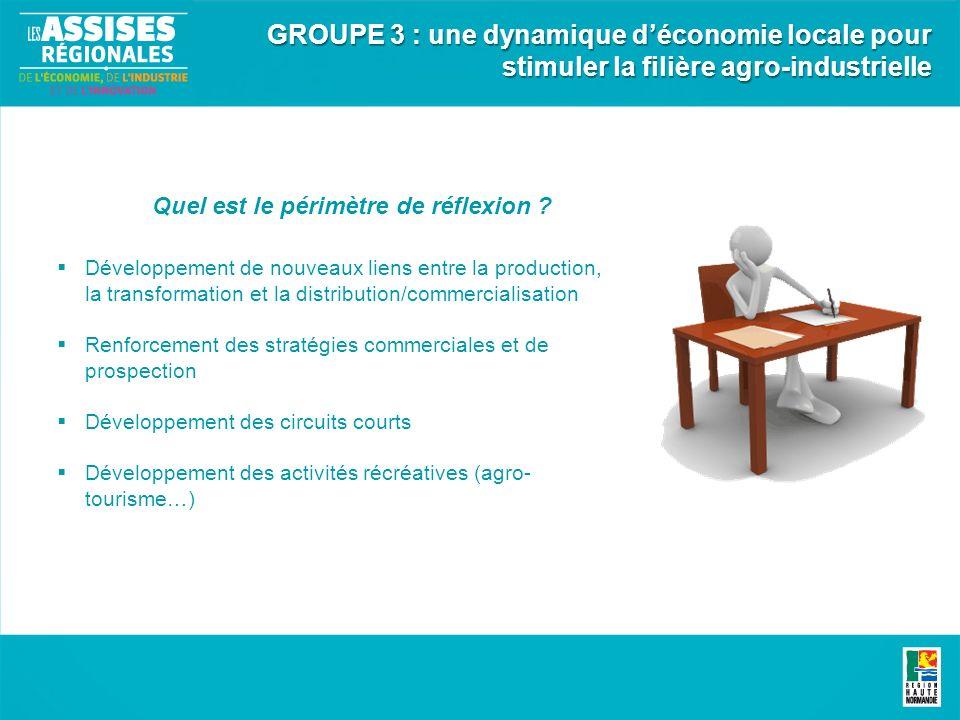 Développement de nouveaux liens entre la production, la transformation et la distribution/commercialisation Renforcement des stratégies commerciales e