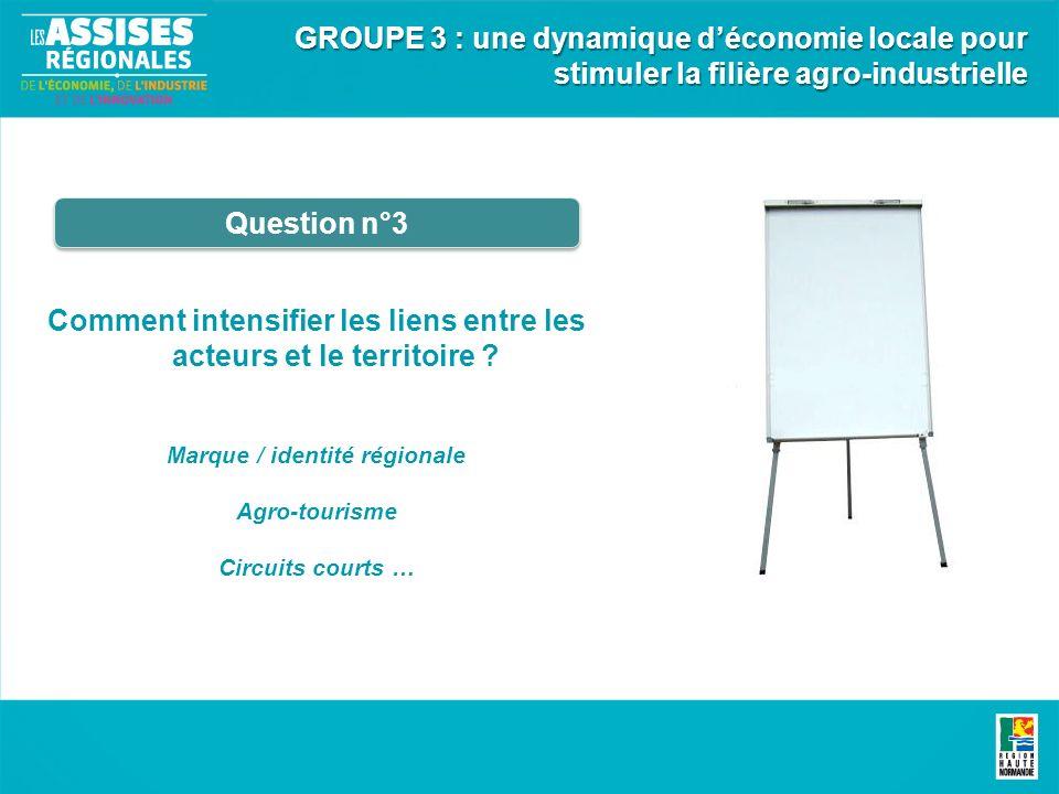 Comment intensifier les liens entre les acteurs et le territoire ? Marque / identité régionale Agro-tourisme Circuits courts … Question n°3 GROUPE 3 :