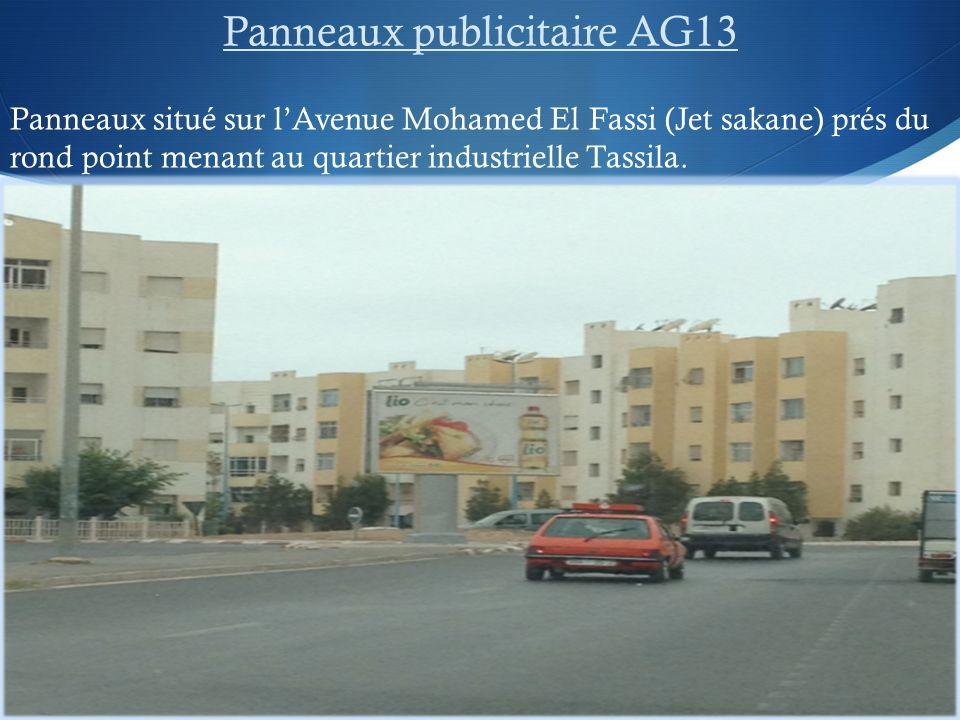 Panneaux publicitaire AG13 Panneaux situé sur lAvenue Mohamed El Fassi (Jet sakane) prés du rond point menant au quartier industrielle Tassila.