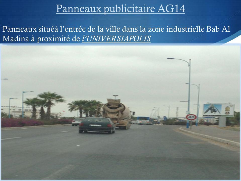 Panneaux publicitaire AG14 Panneaux situéà lentrée de la ville dans la zone industrielle Bab Al Madina à proximité de lUNIVERSIAPOLIS