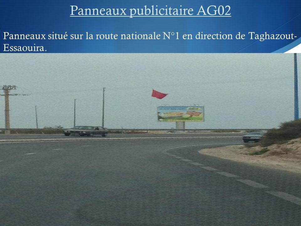 Panneaux publicitaire AG02 Panneaux situé sur la route nationale N°1 en direction de Taghazout- Essaouira.