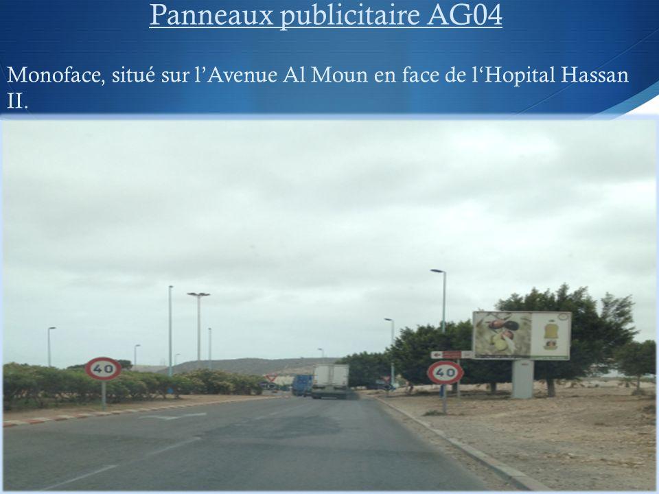 Panneaux publicitaire AG04 Monoface, situé sur lAvenue Al Moun en face de lHopital Hassan II.