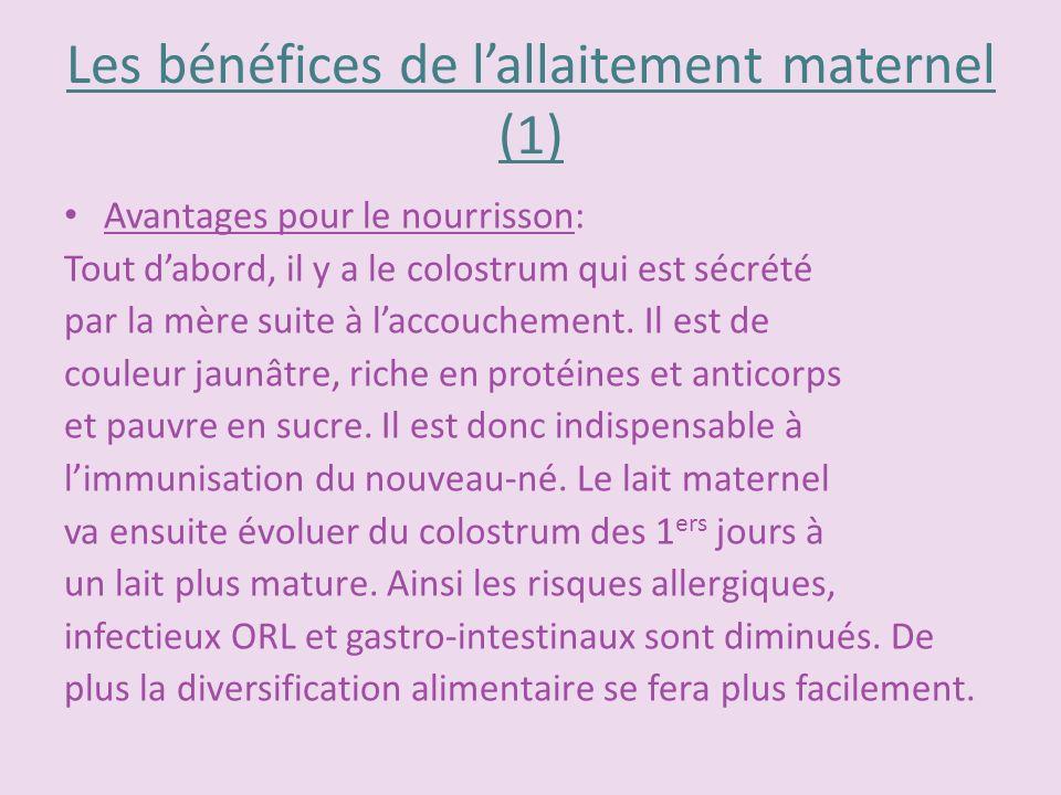 Les bénéfices de lallaitement maternel (1) Avantages pour le nourrisson: Tout dabord, il y a le colostrum qui est sécrété par la mère suite à laccouch
