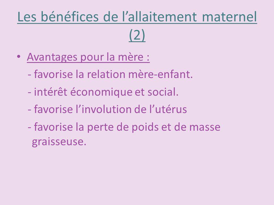 Les bénéfices de lallaitement maternel (2) Avantages pour la mère : - favorise la relation mère-enfant. - intérêt économique et social. - favorise lin