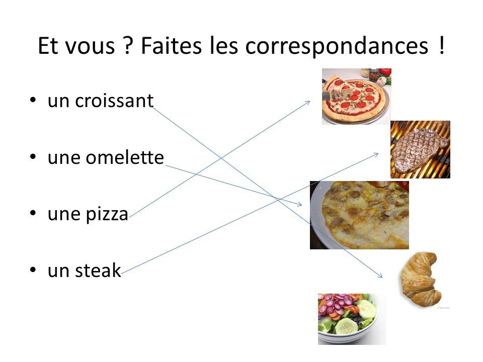 Et vous ? Faites les correspondances ! un croissant une omelette une pizza un steak