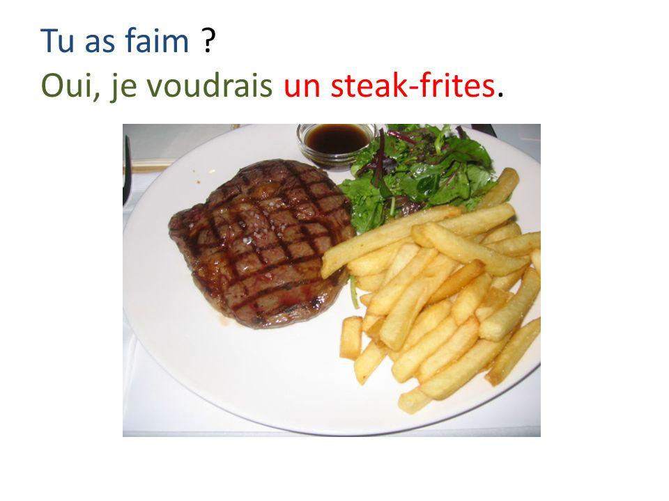 Tu as faim ? Oui, je voudrais un steak-frites.