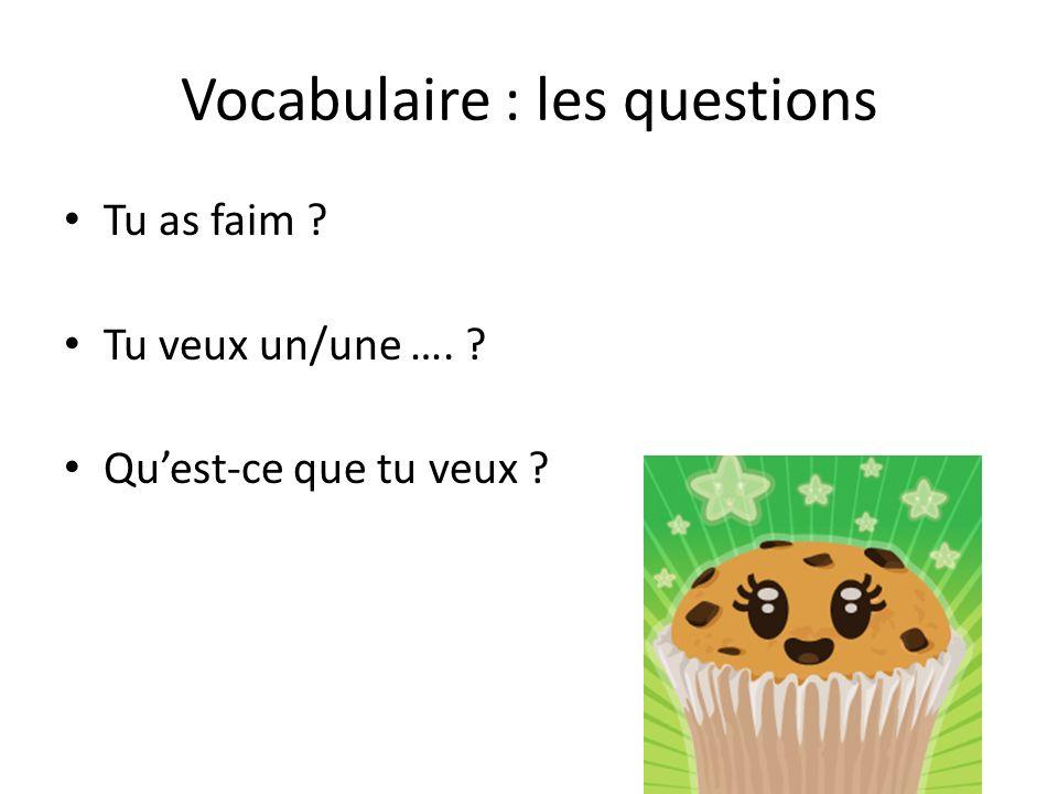Vocabulaire : les questions Tu as faim ? Tu veux un/une …. ? Quest-ce que tu veux ?