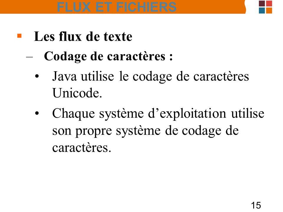15 Les flux de texte –Codage de caractères : Java utilise le codage de caractères Unicode. Chaque système dexploitation utilise son propre système de