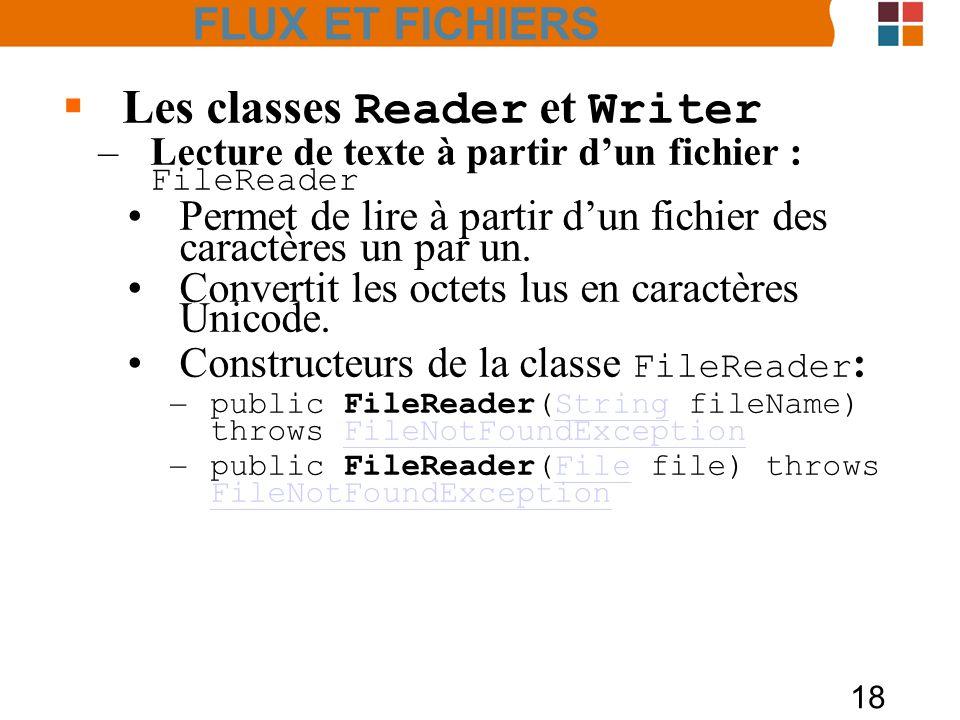 18 Les classes Reader et Writer –Lecture de texte à partir dun fichier : FileReader Permet de lire à partir dun fichier des caractères un par un. Conv