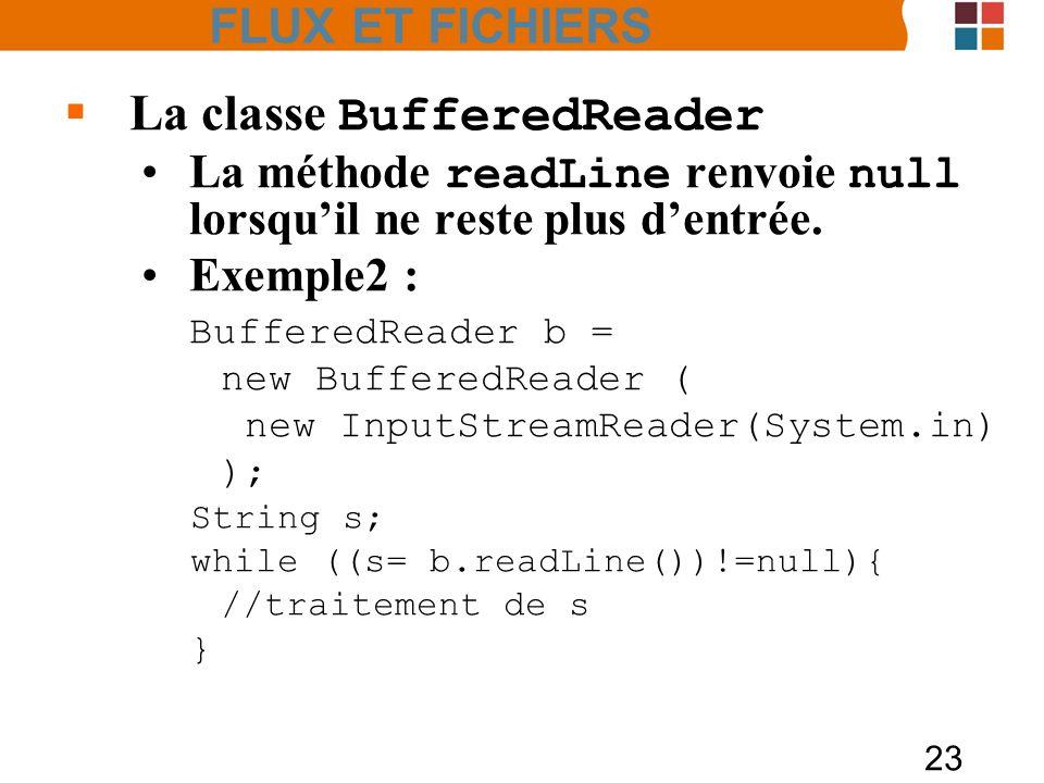 23 La classe BufferedReader La méthode readLine renvoie null lorsquil ne reste plus dentrée. Exemple2 : BufferedReader b = new BufferedReader ( new In
