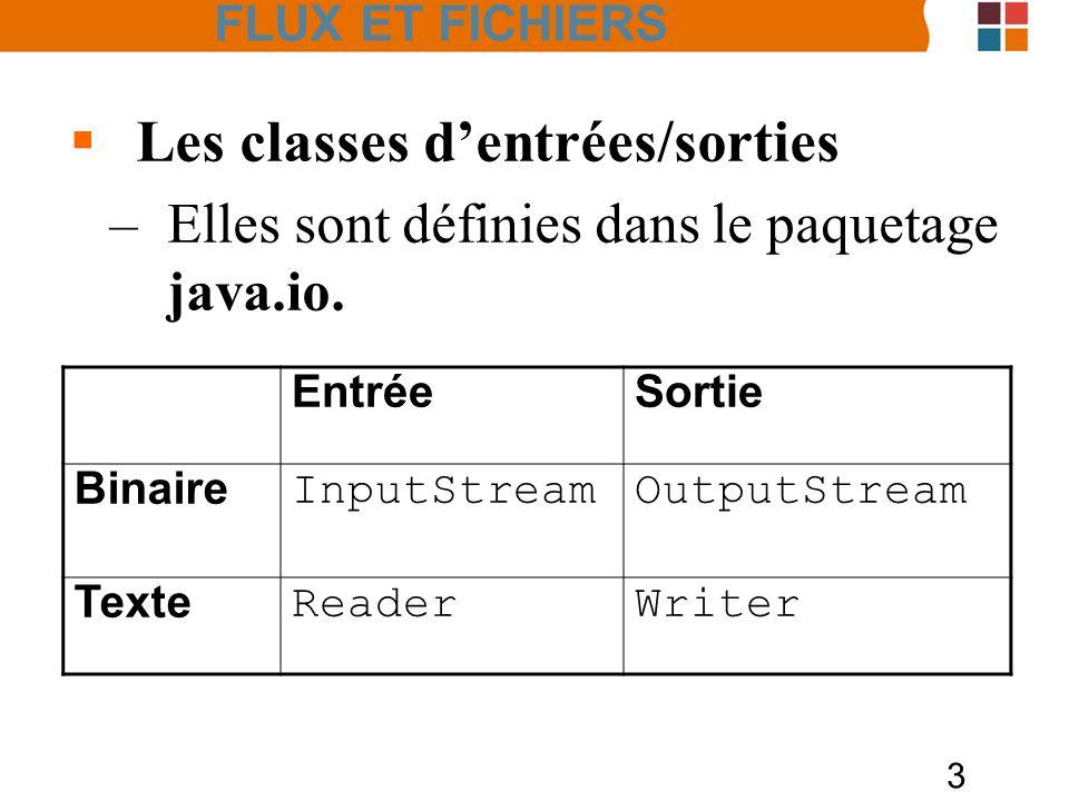 3 Les classes dentrées/sorties –Elles sont définies dans le paquetage java.io. EntréeSortie Binaire InputStreamOutputStream Texte ReaderWriter FLUX ET