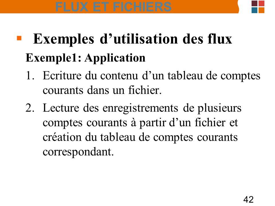 42 Exemples dutilisation des flux Exemple1: Application 1.Ecriture du contenu dun tableau de comptes courants dans un fichier. 2.Lecture des enregistr