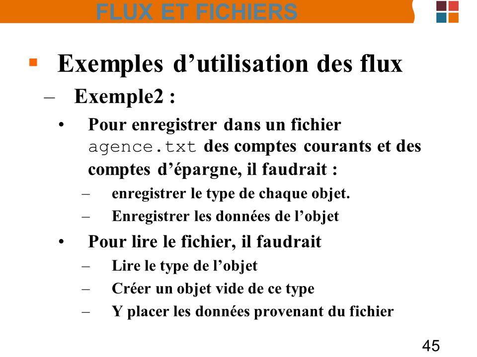 45 Exemples dutilisation des flux –Exemple2 : Pour enregistrer dans un fichier agence.txt des comptes courants et des comptes dépargne, il faudrait :