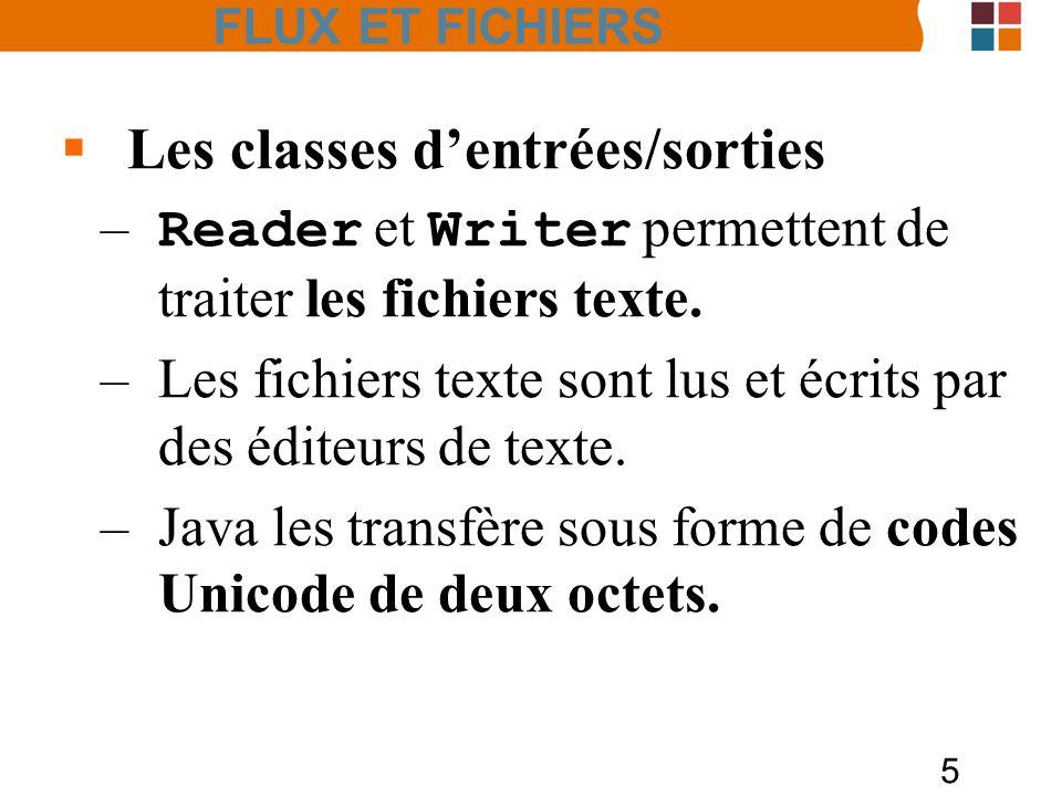5 Les classes dentrées/sorties – Reader et Writer permettent de traiter les fichiers texte. –Les fichiers texte sont lus et écrits par des éditeurs de