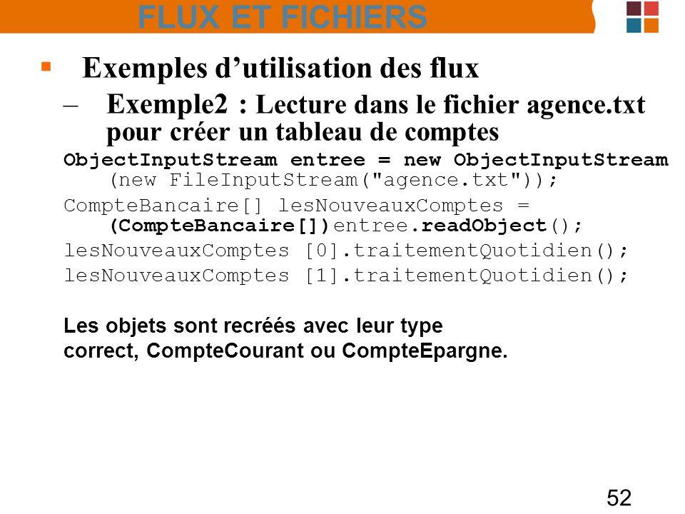 52 Exemples dutilisation des flux –Exemple2 : Lecture dans le fichier agence.txt pour créer un tableau de comptes ObjectInputStream entree = new Objec