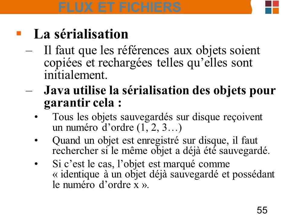 55 La sérialisation –Il faut que les références aux objets soient copiées et rechargées telles quelles sont initialement. –Java utilise la sérialisati