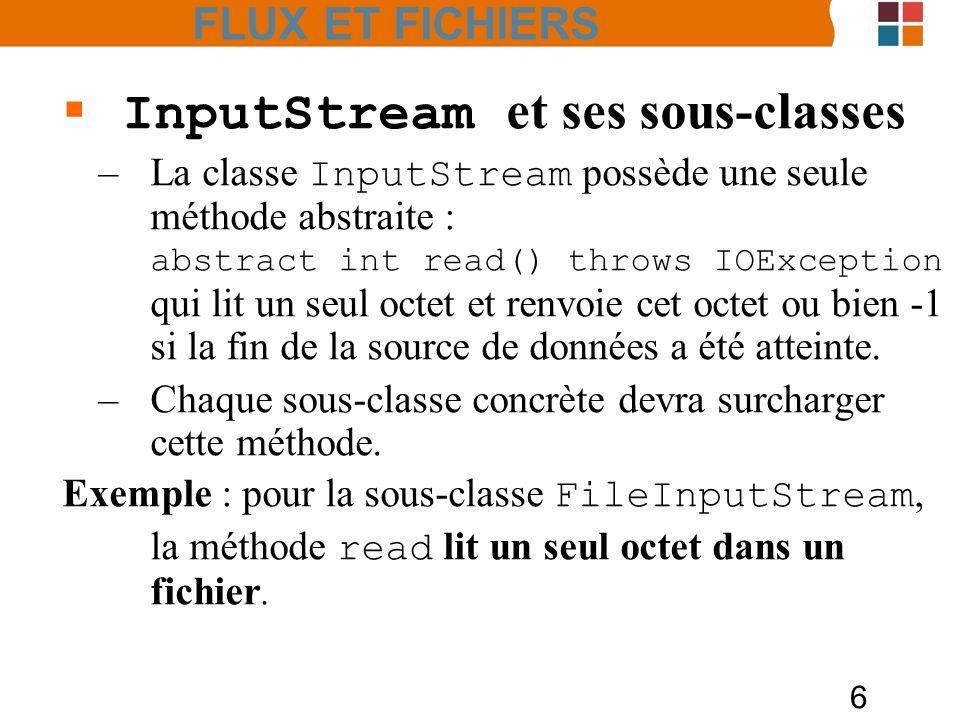 17 Les classes Reader et Writer –Les méthodes de base des classes Reader et Writer sont comparables à celles de InputStream et de OutputSt ream : abstract int read() throws IOException renvoie soit une unité de code Unicode (sous forme dun entier entre 0 et 65535) soit -1 si la fin du fichier est atteinte.