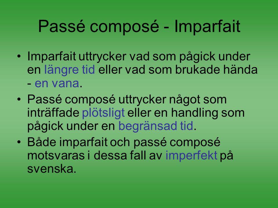 Passé composé - Imparfait Imparfait uttrycker vad som pågick under en längre tid eller vad som brukade hända - en vana. Passé composé uttrycker något