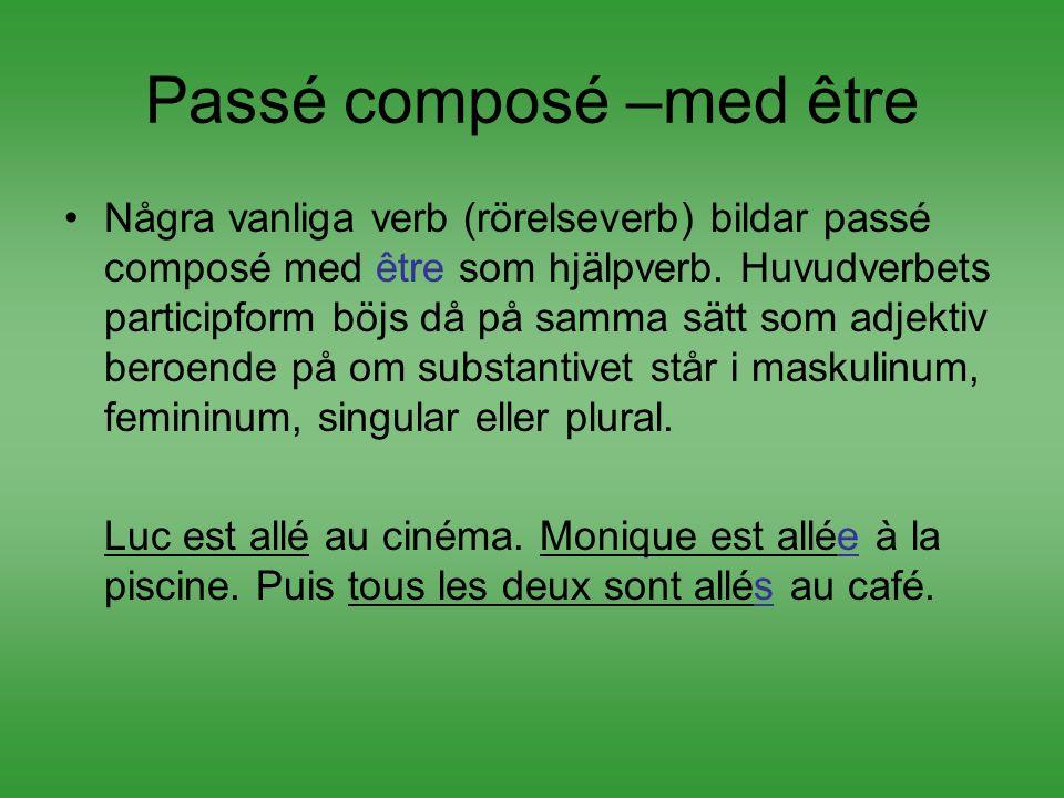 Passé composé –med être Några vanliga verb (rörelseverb) bildar passé composé med être som hjälpverb. Huvudverbets participform böjs då på samma sätt
