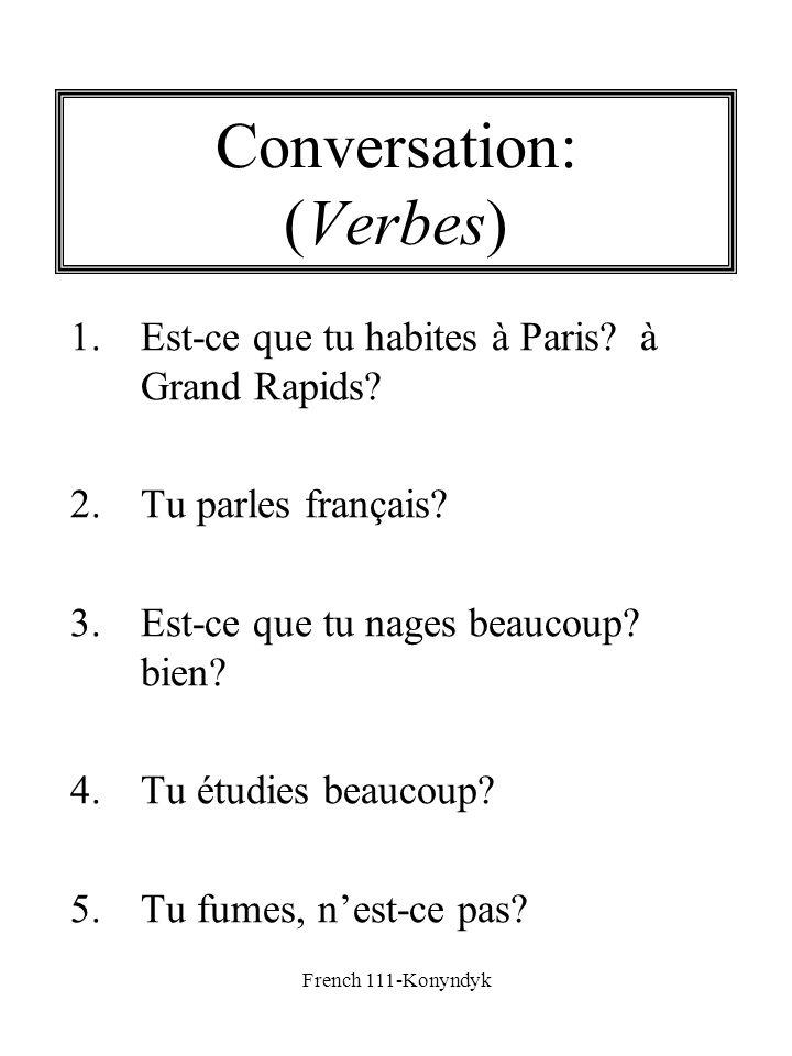 French 111-Konyndyk Conversation: (Verbes) 1.Est-ce que tu habites à Paris? à Grand Rapids? 2.Tu parles français? 3.Est-ce que tu nages beaucoup? bien