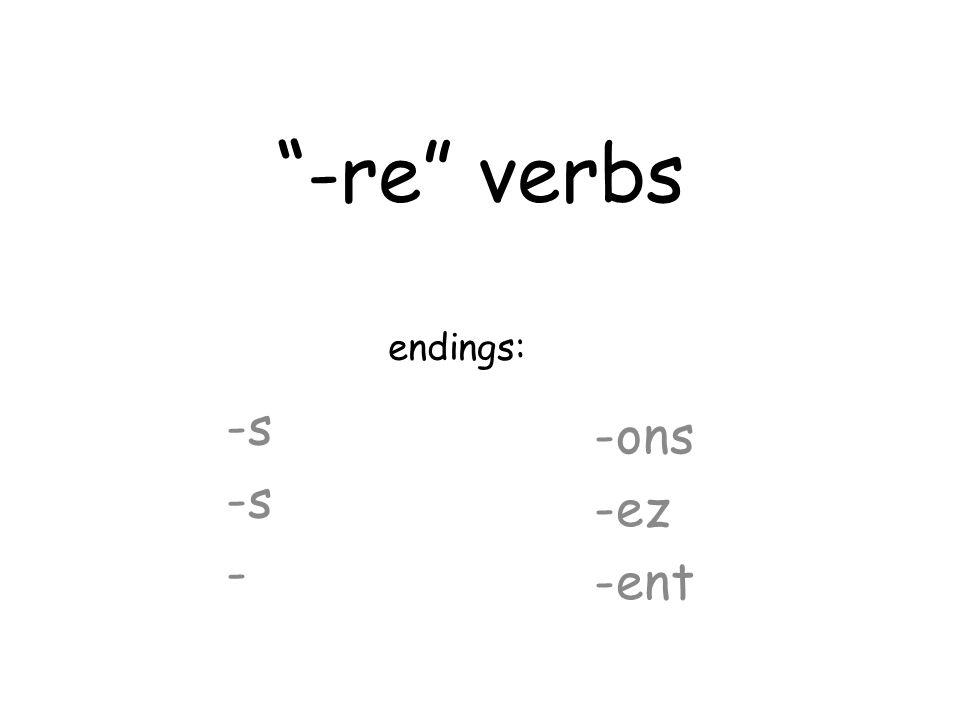 -re verbs -s - -ons -ez -ent endings: