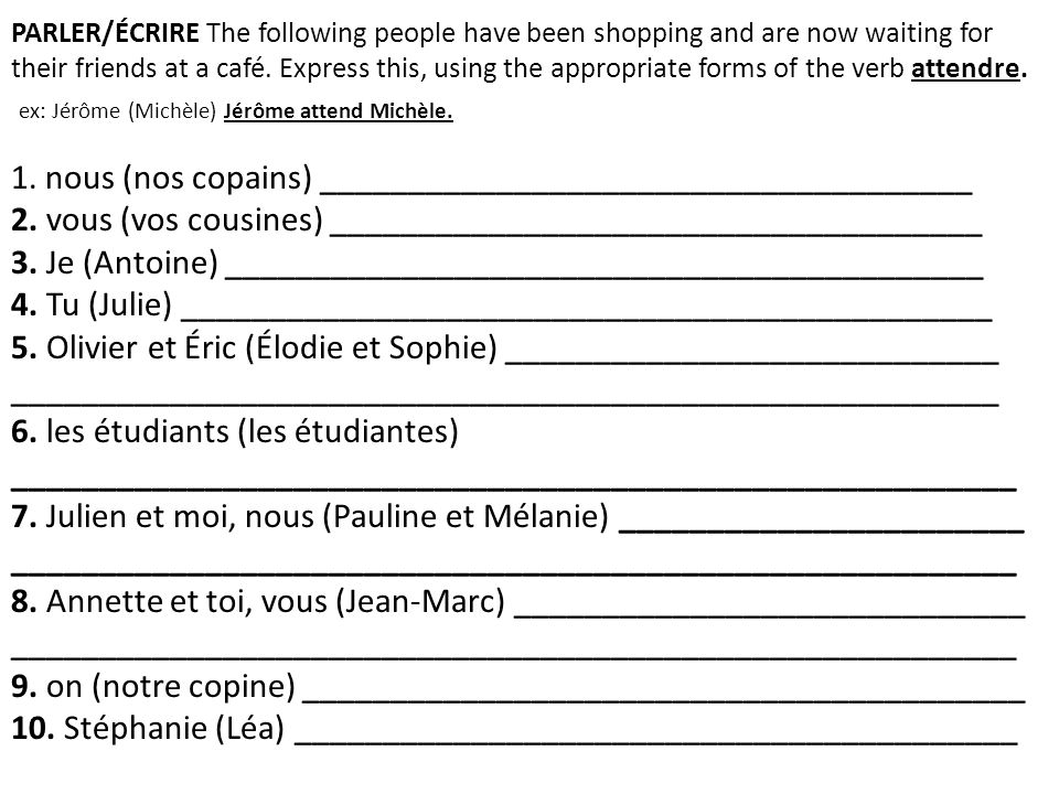 PARLER/ÉCRIRE The following people have been shopping and are now waiting for their friends at a café.