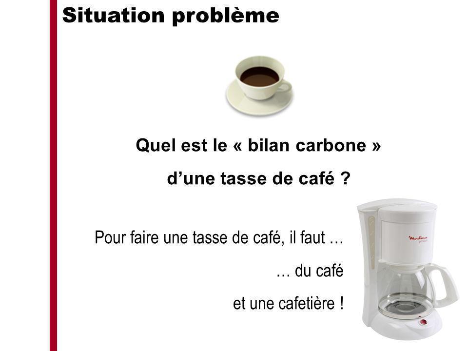 Situation problème Quel est le « bilan carbone » dune tasse de café ? Pour faire une tasse de café, il faut … … du café et une cafetière !