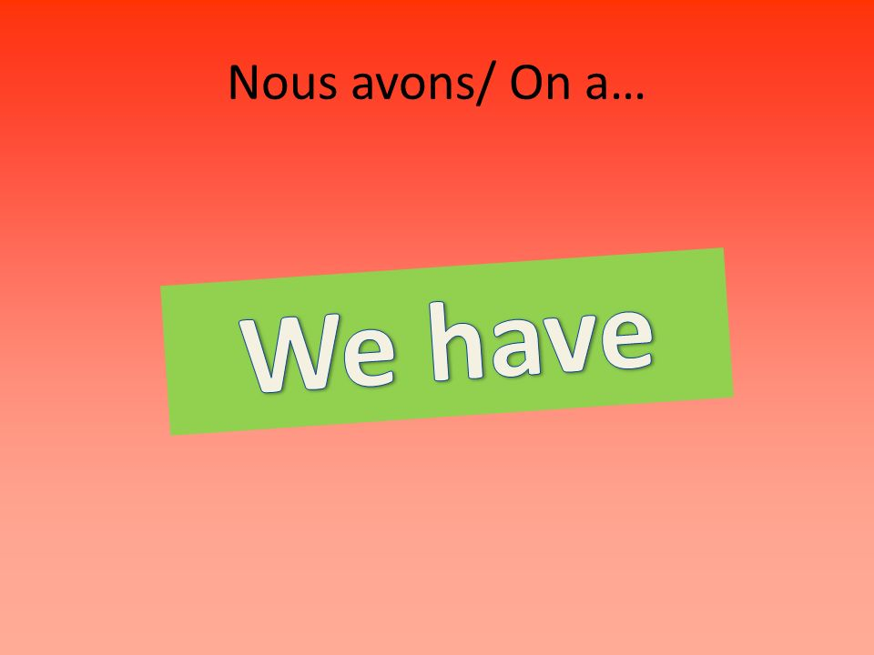 Nous avons/ On a…
