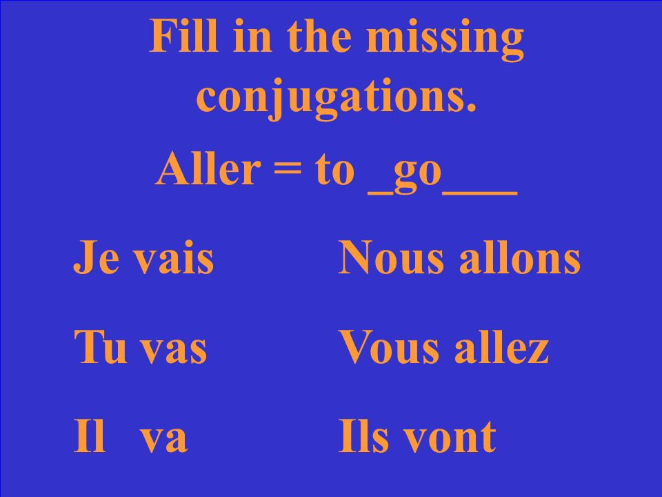 Fill in the missing conjugations. Aller = to ____ Je vaisNous TuVous allez IlIls
