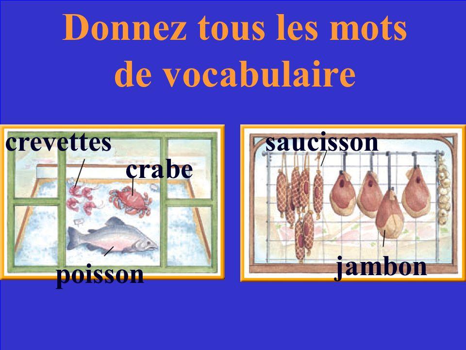 crevettes crabe poisson saucisson jambon