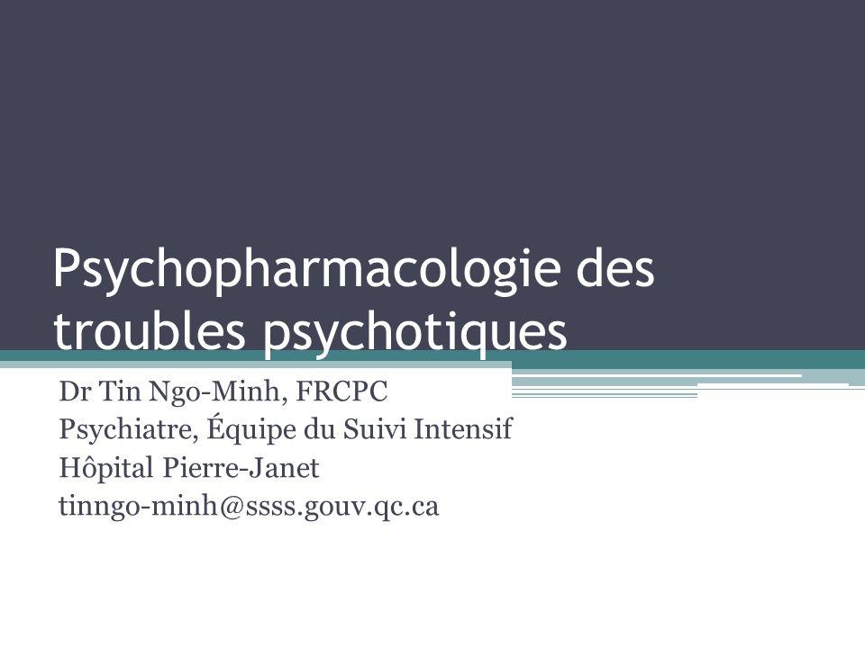 D2 5-HT2 Antipsychotique 2 ème génération Clozapine (Clozaril) Olanzapine (Zyprexa) Quetiapine (Seroquel) Risperidone (Risperdal) Paliperidone (Invega) Ziprasidone (Zeldox) ……………………………………………………………………………….… Asenapine (Saphris) Lurasidone (Latuda) Classification des antipsychotiques Antipsychotiques « atypiques »