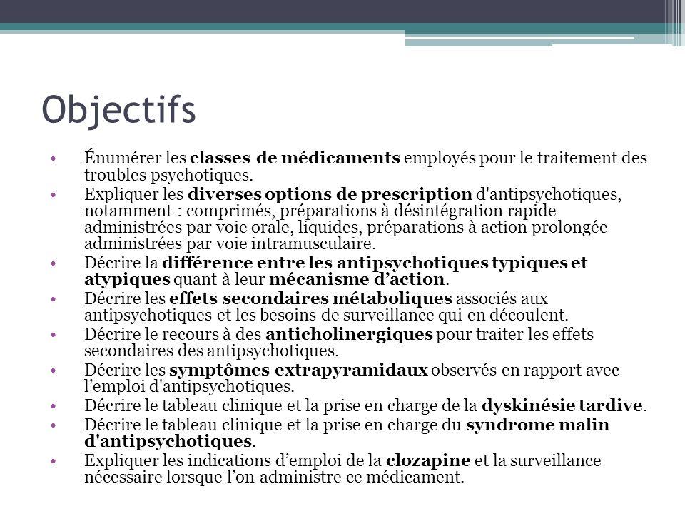 Objectifs Énumérer les classes de médicaments employés pour le traitement des troubles psychotiques. Expliquer les diverses options de prescription d'