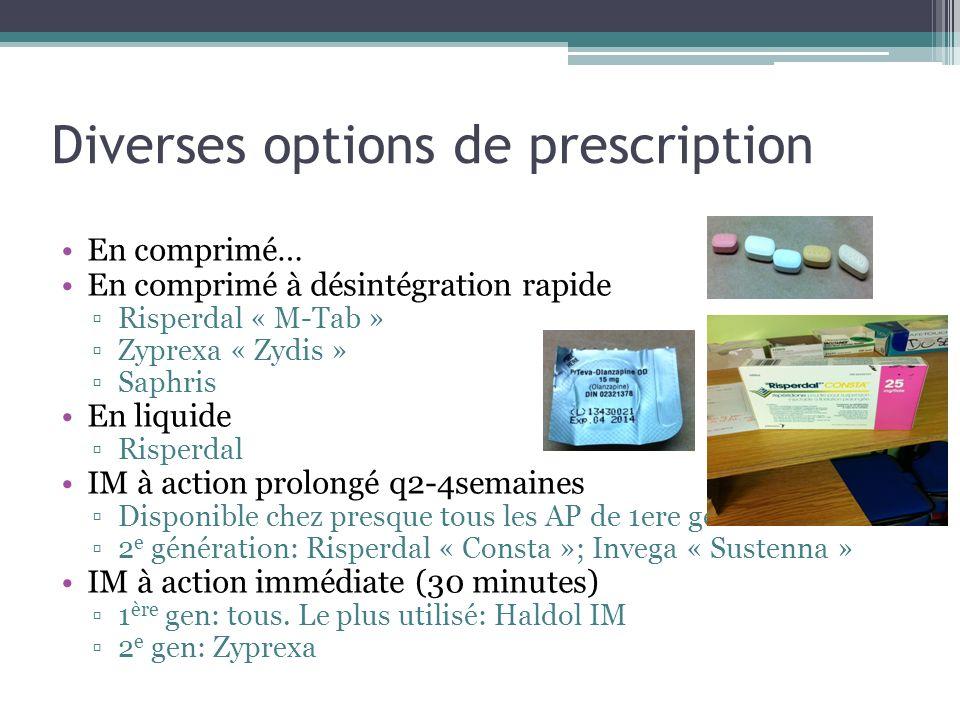 Diverses options de prescription En comprimé… En comprimé à désintégration rapide Risperdal « M-Tab » Zyprexa « Zydis » Saphris En liquide Risperdal I
