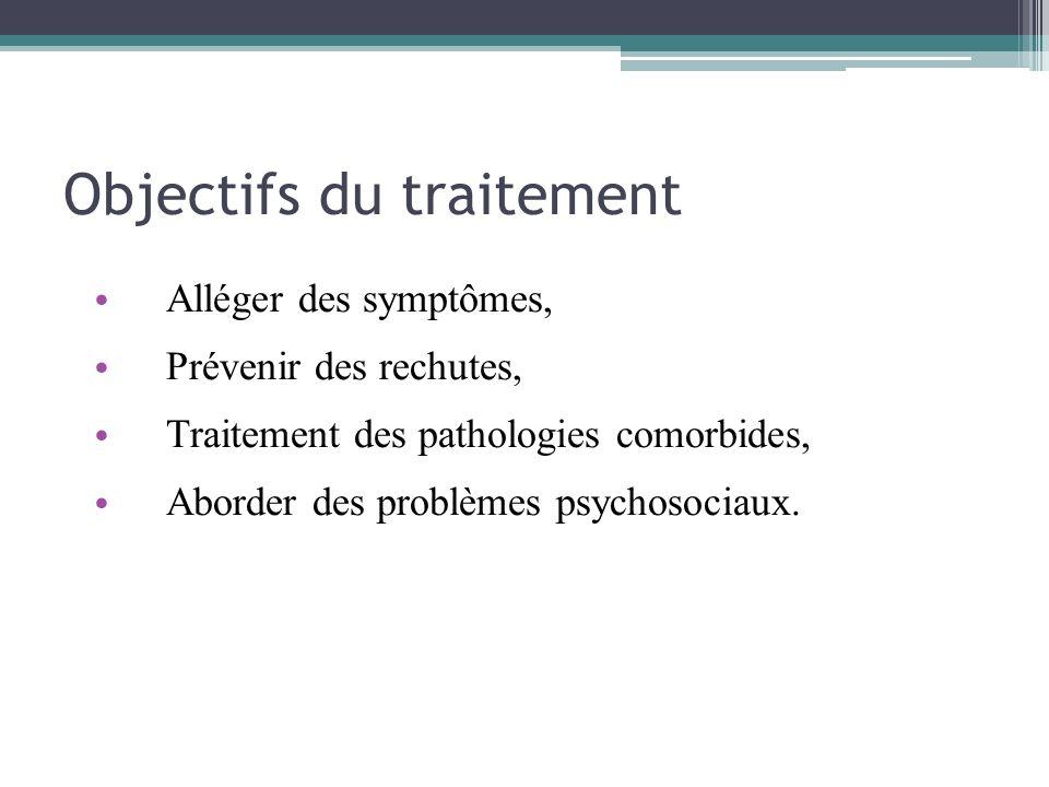 Objectifs du traitement Alléger des symptômes, Prévenir des rechutes, Traitement des pathologies comorbides, Aborder des problèmes psychosociaux.