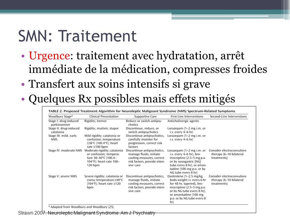 SMN: Traitement Urgence: traitement avec hydratation, arrêt immédiate de la médication, compresses froides Transfert aux soins intensifs si grave Quel