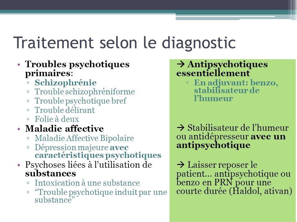 Traitement selon le diagnostic Troubles psychotiques primaires: Schizophrénie Trouble schizophréniforme Trouble psychotique bref Trouble délirant Foli