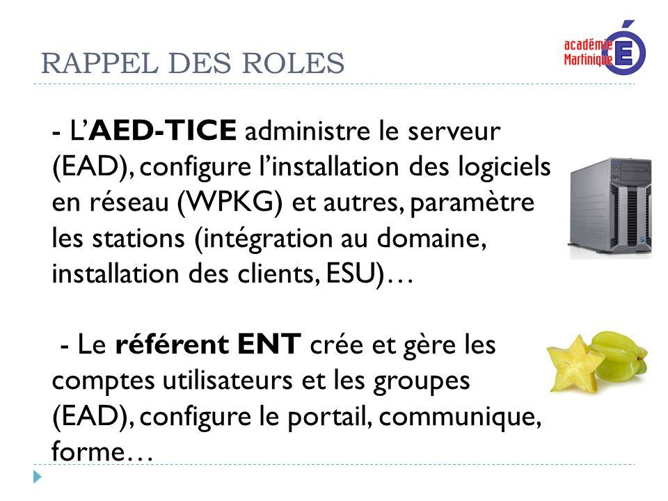 RAPPEL DES ROLES - LAED-TICE administre le serveur (EAD), configure linstallation des logiciels en réseau (WPKG) et autres, paramètre les stations (in