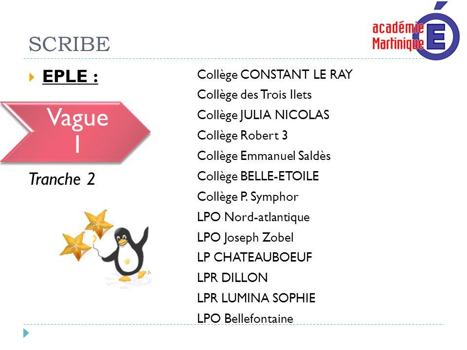 SCRIBE EPLE : Vague 1 Tranche 2 Collège CONSTANT LE RAY Collège des Trois Ilets Collège JULIA NICOLAS Collège Robert 3 Collège Emmanuel Saldès Collège
