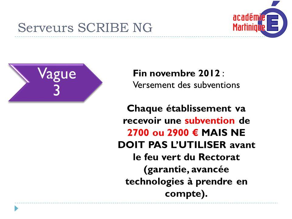 Serveurs SCRIBE NG Fin novembre 2012 : Versement des subventions Chaque établissement va recevoir une subvention de 2700 ou 2900 MAIS NE DOIT PAS LUTI