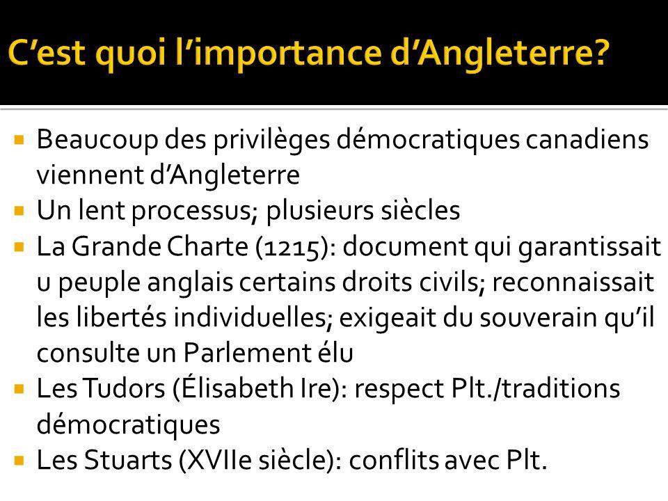 Beaucoup des privilèges démocratiques canadiens viennent dAngleterre Un lent processus; plusieurs siècles La Grande Charte (1215): document qui garant