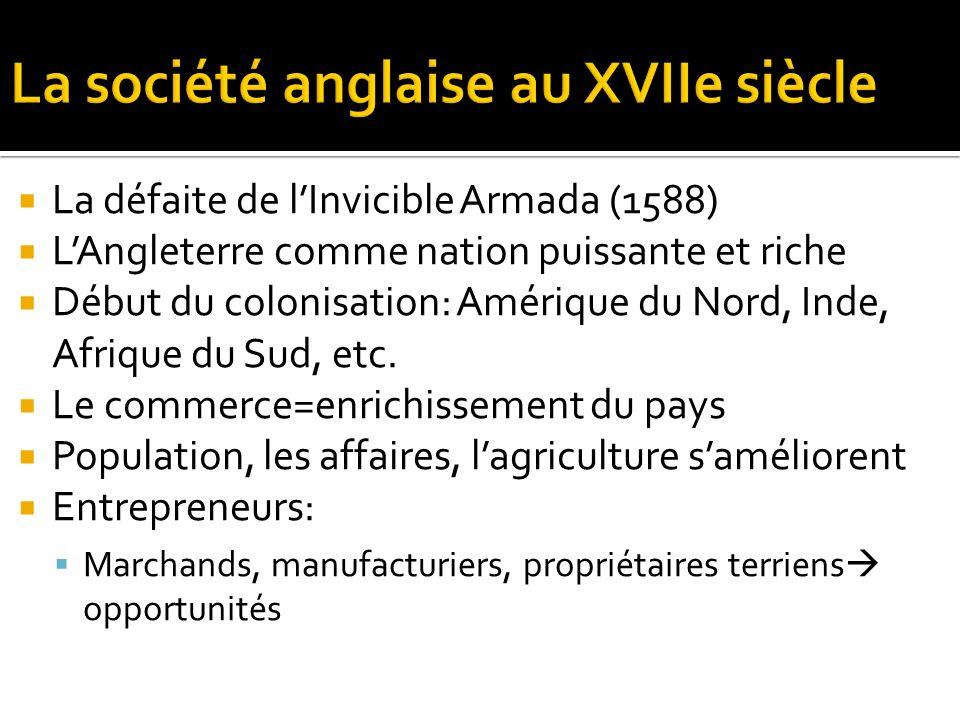 La défaite de lInvicible Armada (1588) LAngleterre comme nation puissante et riche Début du colonisation: Amérique du Nord, Inde, Afrique du Sud, etc.
