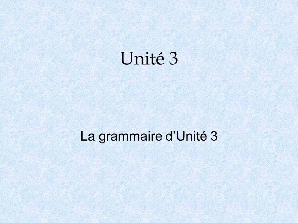 Unité 3 La grammaire dUnité 3