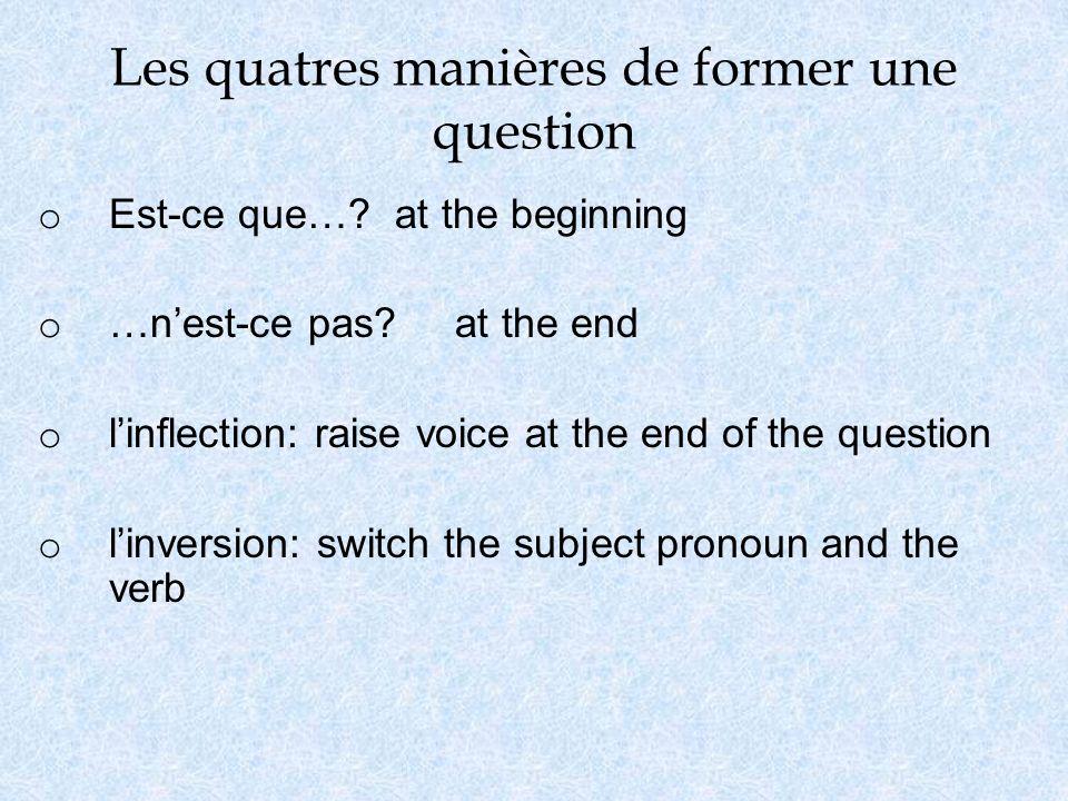 Les quatres manières de former une question o Est-ce que….