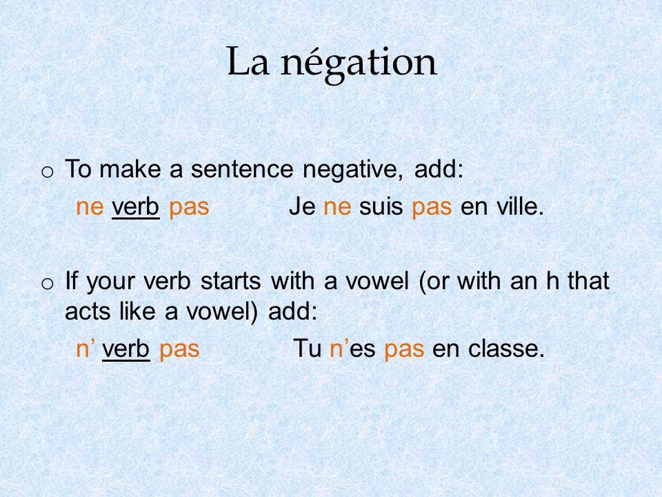 La conjugaison de verbes -er o Regular er verb conjugation in present tense: 1.Take the infinitive (form with the er ending).