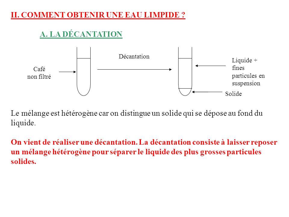 B.LA FILTRATION On veut maintenant séparer les fines particules solides en suspension du liquide.