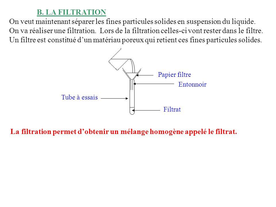 B. LA FILTRATION On veut maintenant séparer les fines particules solides en suspension du liquide. On va réaliser une filtration. Lors de la filtratio