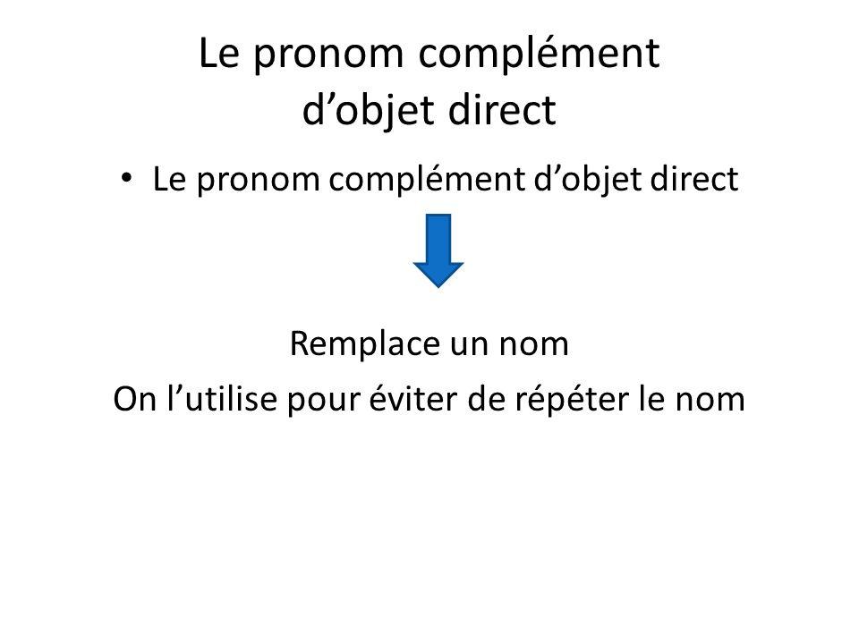 Le pronom complément dobjet direct Remplace un nom On lutilise pour éviter de répéter le nom