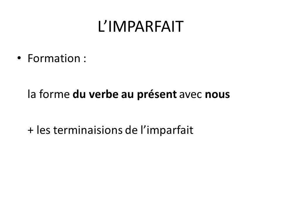 LIMPARFAIT Formation : la forme du verbe au présent avec nous + les terminaisions de limparfait