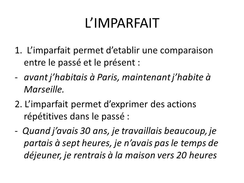 LIMPARFAIT 1. Limparfait permet detablir une comparaison entre le passé et le présent : -avant jhabitais à Paris, maintenant jhabite à Marseille. 2. L